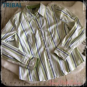 TRIBAL Green blue and white button down shirt